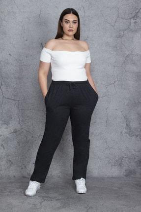 تصویر از Kadın Antrasit Beli Lastik Ve Bağcık Detaylı Cepli Spor Pantolon 65N24471