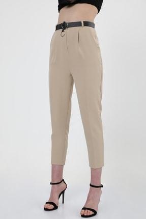 MD trend Kadın Bej Kemerli Pileli Havuç Kesim Ofis Pantolon 0