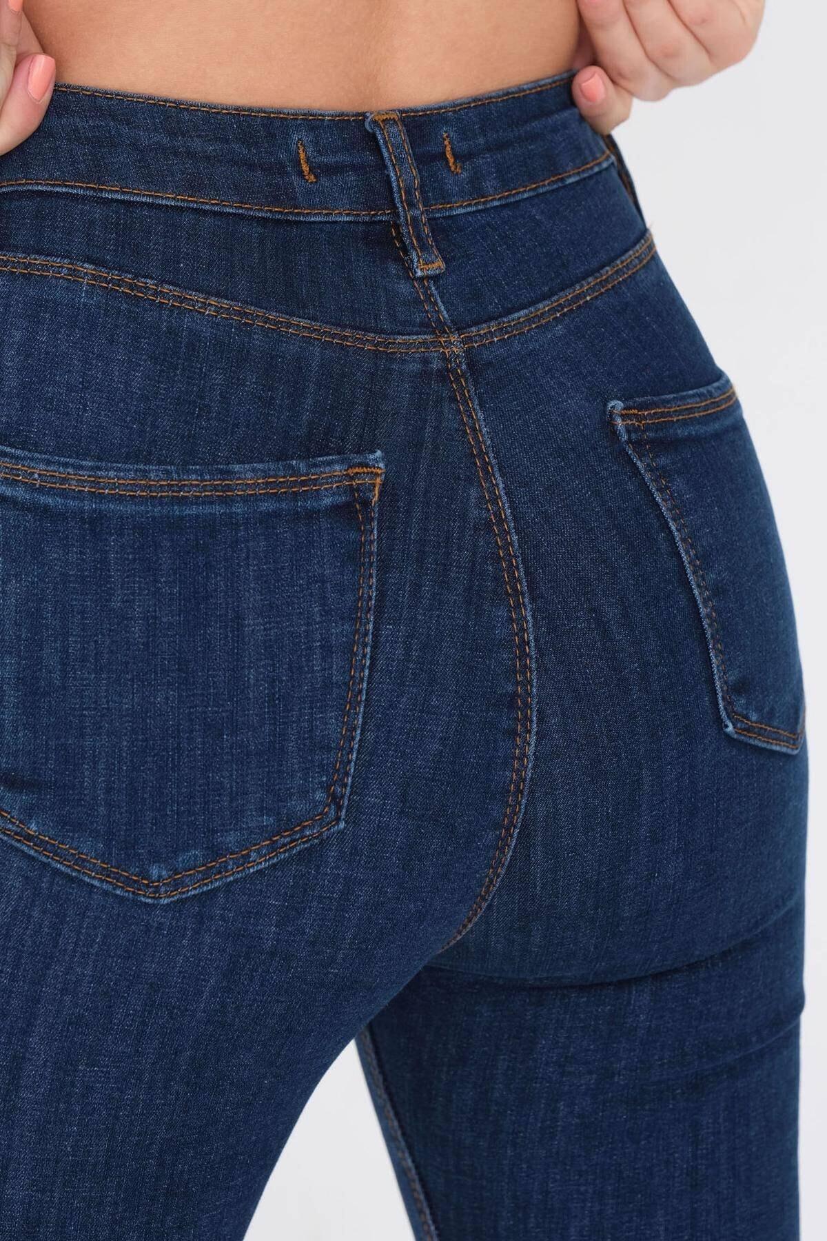 Addax Kadın Koyu Kot Rengi Cep Detaylı Jean Pn6515 - Pnj ADX-0000021225 2