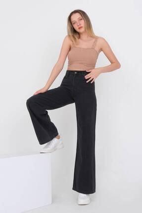 Addax Kadın Gri Bol Paça Pantolon Pn216 - Pni 0