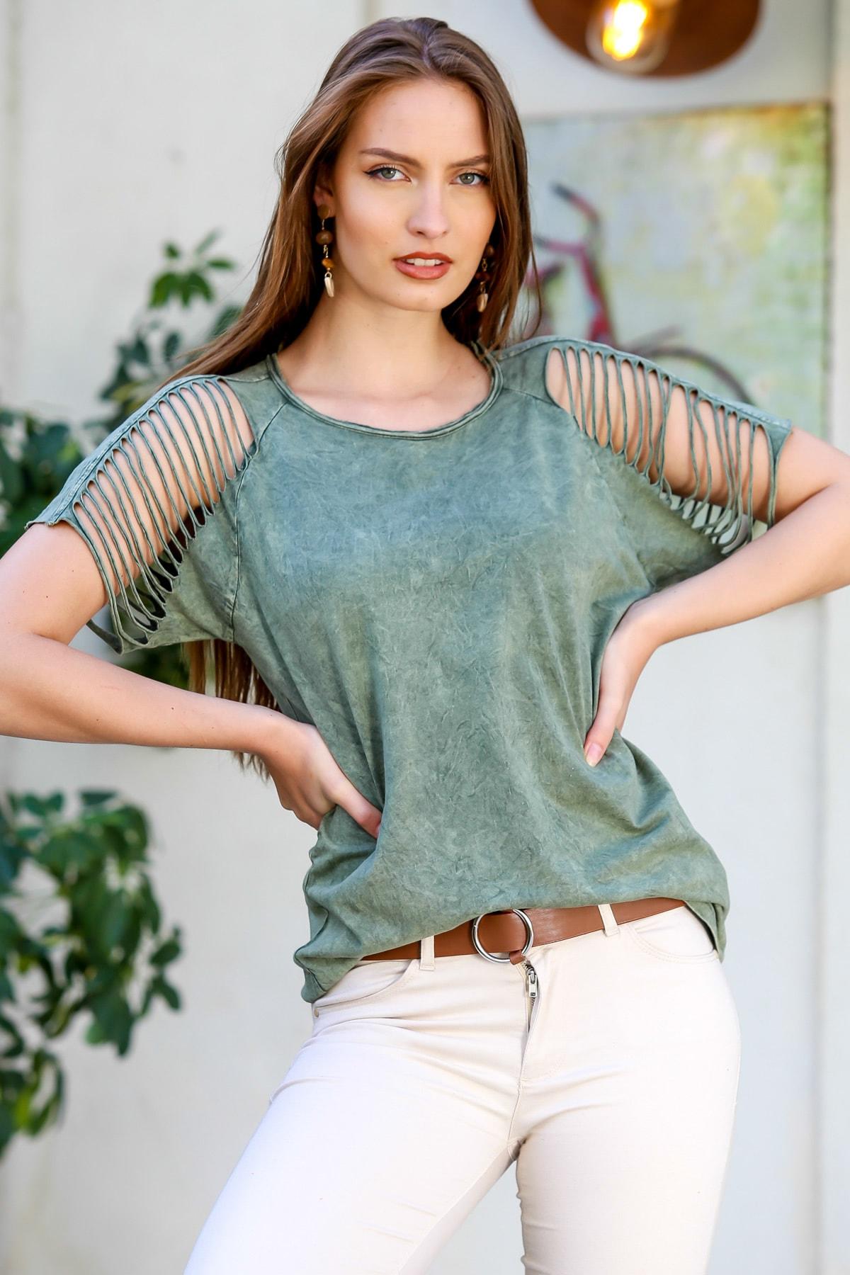Kadın Yeşil Omuzları Lazer Kesim Detaylı Yıkamalı T-Shirt M10010300TS98224
