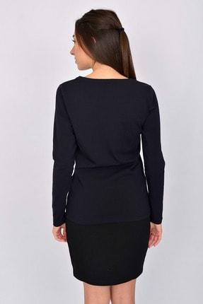 Letoile Pamuk Likralı Uzun Kollu Kadın T-shirt Lacivert 3