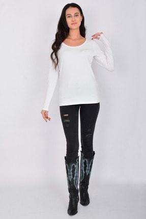 Letoile Pamuk Likralı Uzun Kollu Kadın T-shirt Beyaz 2