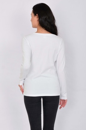 Letoile Pamuk Likralı Uzun Kollu Kadın T-shirt Beyaz 4