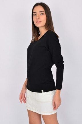 Letoile Pamuk Likralı Uzun Kollu Kadın T-shirt Siyah 2