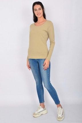 Letoile Pamuk Likralı Uzun Kollu Kadın T-shirt Bej 2
