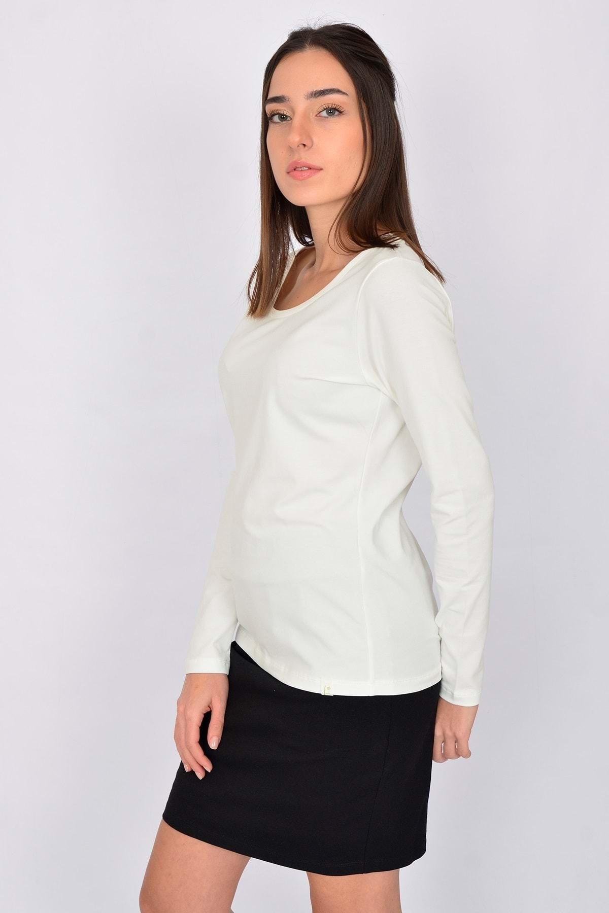 Letoile Pamuk Likralı Uzun Kollu Kadın T-shirt Ekru