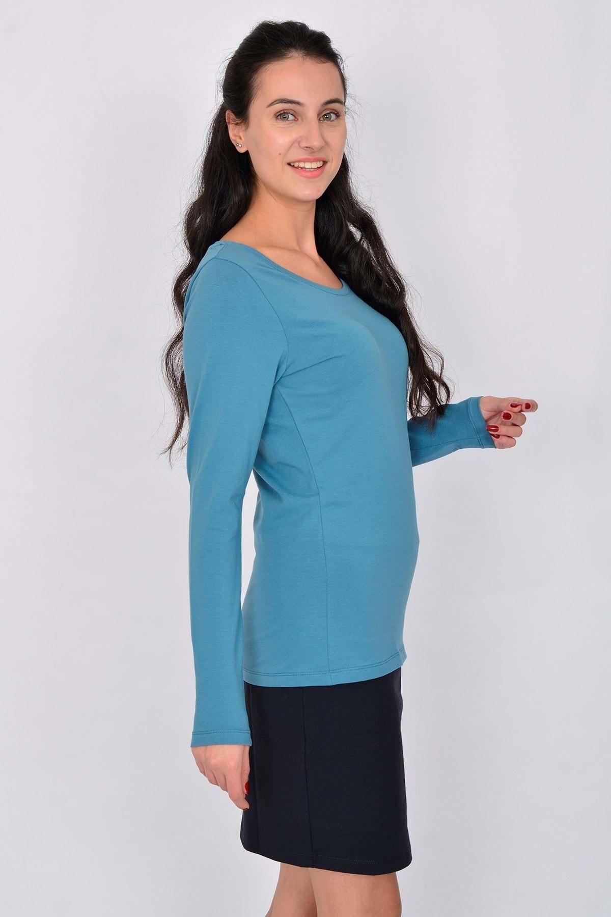 Letoile Pamuk Likralı Uzun Kollu Kadın T-shirt Mavi
