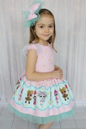 Riccotarz Kız Çocuk Yeşil Tütülü Lol Baby Pembe Elbise 1