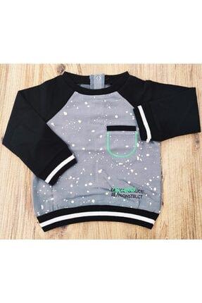 Erkek Bebek Baskılı Cepli Siyah Sweatshirt 3210202234
