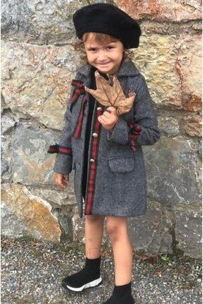 Riccotarz Kız Çocuk Gold Düğmeli Füme Kaşe Kaban 1