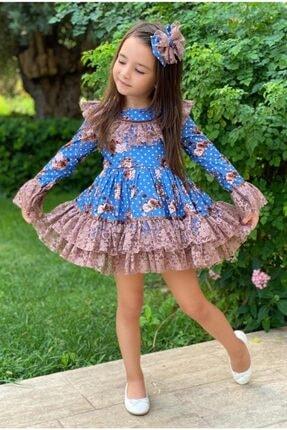 Riccotarz Kız Çocuk Çiçek Dantelli Puanlı Mavi Elbise 3