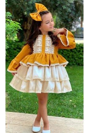 Riccotarz Kız Çocuk Krem Dantel Işlemeli Hardal Elbise 2