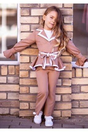 Riccotarz Kız Çocuk Ispanyol Paça Kahverengi Pantolonlu Takım 2