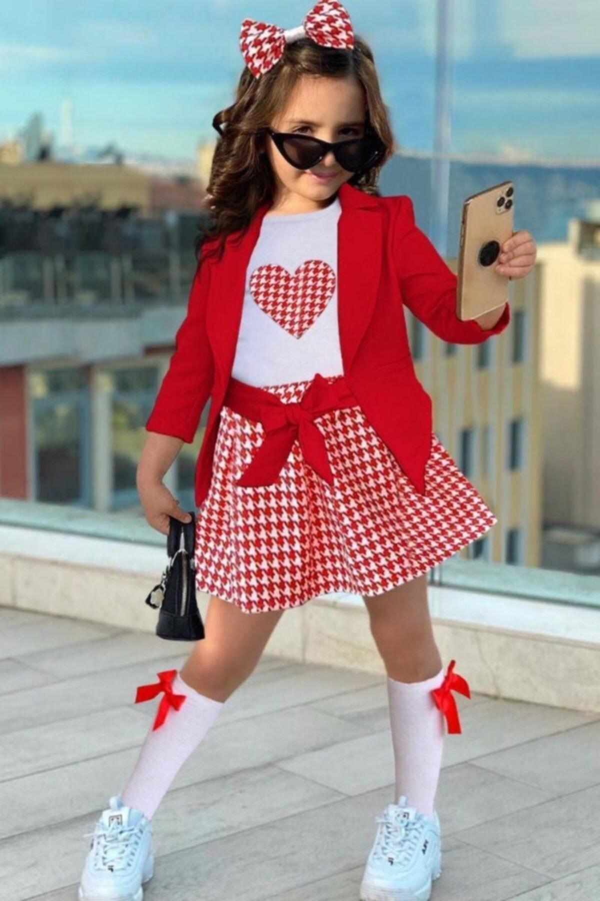 Kız Çocuk Kırmızı Blazer Ceketli Kazayağı Etekli Takım