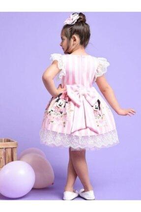 Riccotarz Kız Çocuk Pembe Minnie Çizgili Dantel Işlemeli Elbise 1