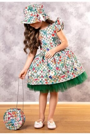 Riccotarz Kız Çocuk Green Flowers Tütülü Elbise 0