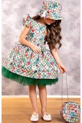 Riccotarz Kız Çocuk Green Flowers Tütülü Elbise 2