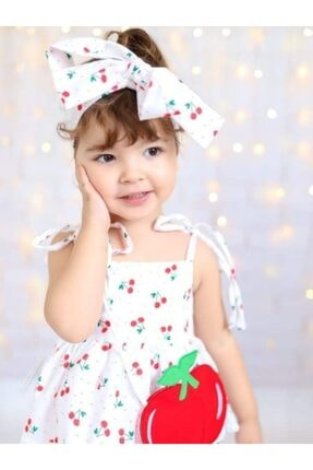 Riccotarz Kız Çocuk Beyaz Cherry Kirazlı Elbise 3