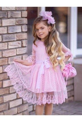 Riccotarz Kız Çocuk Prenses Güpürlü Çantalı Pudra Elbise 0