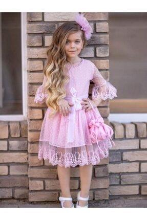 Riccotarz Kız Çocuk Prenses Güpürlü Çantalı Pudra Elbise 1