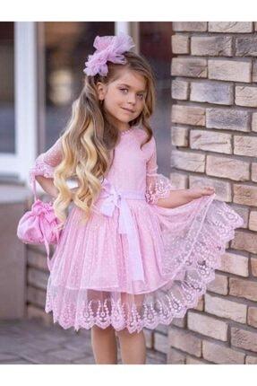 Riccotarz Kız Çocuk Prenses Güpürlü Çantalı Pudra Elbise 3