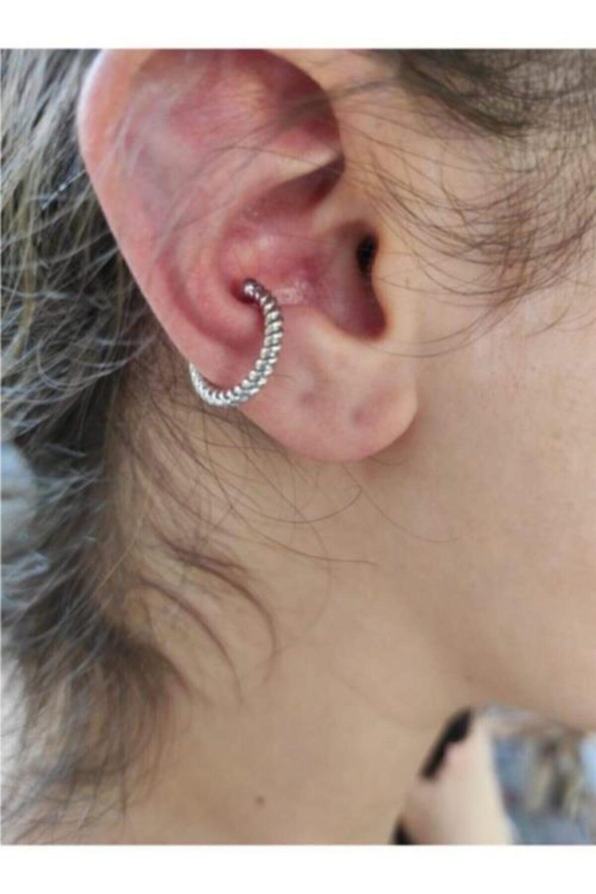 Kadın Gümüş Sıkıştırma Kıkırdak Küpesi Sıkıştırma (earcuff)