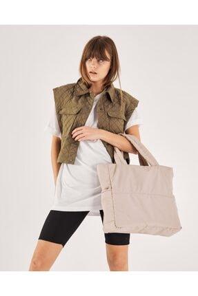 Shule Bags Kabartmalı Puf Kumaş Shopper Çanta Napoli Krem 1