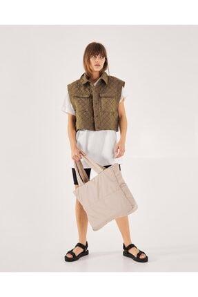 Shule Bags Kabartmalı Puf Kumaş Shopper Çanta Napoli Krem 2