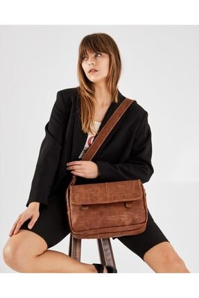 Shule Bags Nubuk Kumaş Kadın Postacı Çanta Lina Taba 0