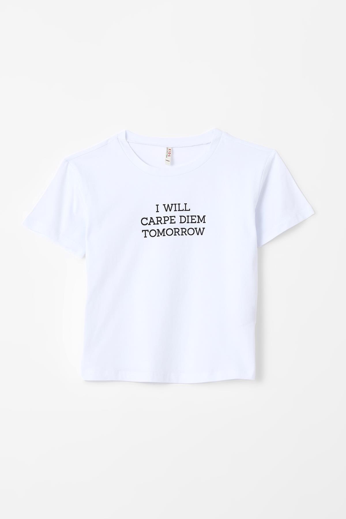 Kız Çocuk Slogan Baskılı Kısa Kollu Tişört U3761A621SP
