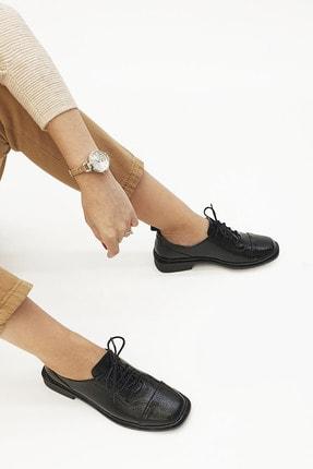 Marjin Kadın Oxford Ayakkabı Ateksiyah Rugan 1
