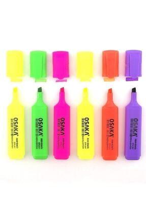Osaka Fosforlu Kalem Canlı Renkler 6'lı Set 0