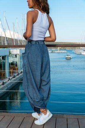 mor butik Kadın Indigo Yıkamalı Keten Cepli Beli Lastikli Şalvar Pantolon 1