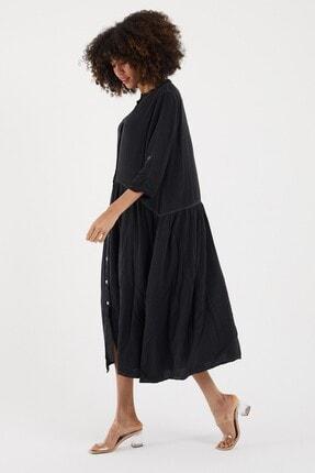 Cotton Mood Kadın Sıyah Yıkamalı Hakim Yaka Düğmeli Salash Uzun Elbise 2