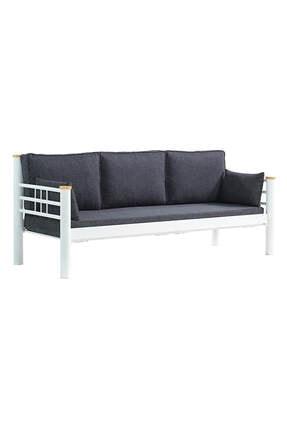 Unimet Beyaz Antrasit Kappis Metal Sofa Üçlü Koltuk  70x200 cm 2