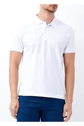 Erkek Beyaz Büyük Beden Basic Polo Yaka Tişört resmi