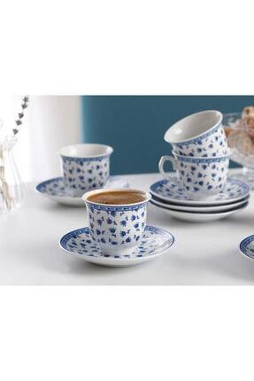 English Home Briana Porselen 6'lı Kahve Fincan Takımı 90 ml Mavi 1