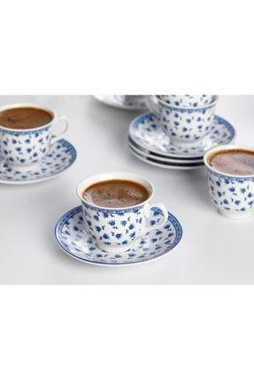 English Home Briana Porselen 6'lı Kahve Fincan Takımı 90 ml Mavi 2