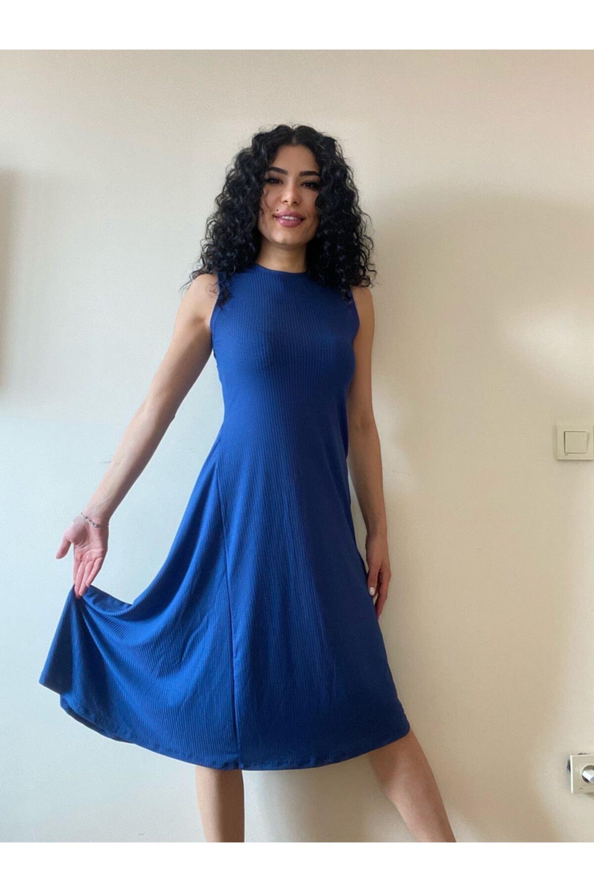 pacco butik Kadın Lacivert Asimetrik Elbise