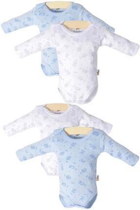 Pattaya Kids Bebek Mavi Çıtçıtlı Uzun Kollu 4'lü Zıbın Takımı Ptk20s-408 0
