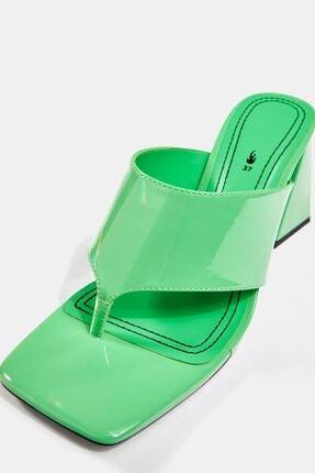 Bershka Kadın Yeşil Blok Topuklu Sandalet 3