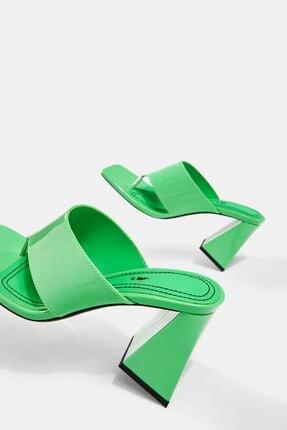 Bershka Kadın Yeşil Blok Topuklu Sandalet 4