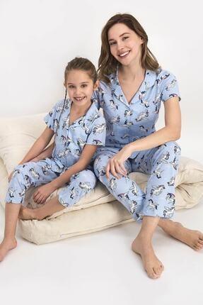 Picture of Anne Kız Buz Mavi Kombin Pijama Takım 2416