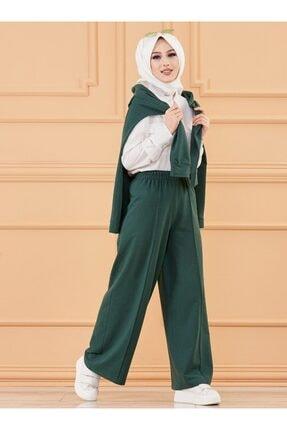 Kadın Zümrüt Yeşili Beli Lastikli Pantolon 7981434