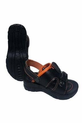 Gezer Çocuk Dört Nokta Deri Ortapedik Siyah-turuncu Sandalet Terlik- Altın Adım Ayakkabı 0