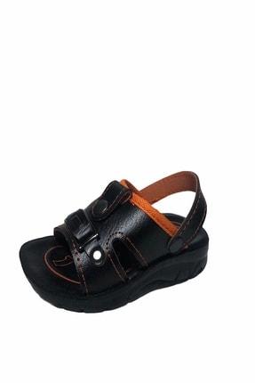 Gezer Çocuk Dört Nokta Deri Ortapedik Siyah-turuncu Sandalet Terlik- Altın Adım Ayakkabı 1
