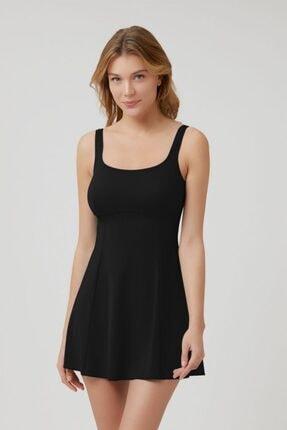 Kom Siyah Yuvarlak Yaka Şortlu Elbise Mayo 0