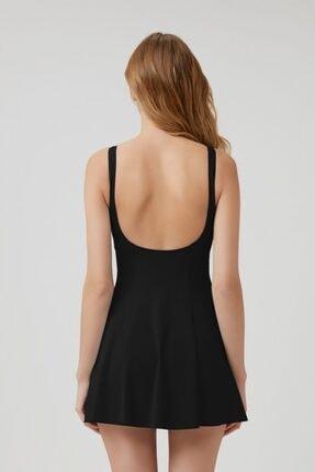 Kom Siyah Yuvarlak Yaka Şortlu Elbise Mayo 1