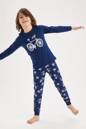 Defacto Erkek Çocuk Bisiklet Basklı Pijama Takımı 0